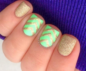 gold, nails, and neon image