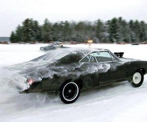 black, car, and snow image