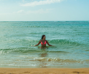 beach, summer, and woman image