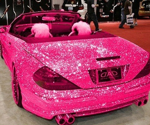 car, pink, and glitter image