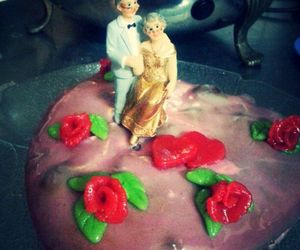 bride and groom, cake, and flower image
