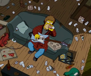 homer, the simpsons, and guitar image