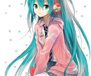 fashion, vocaloid miku, and blue hair girl image