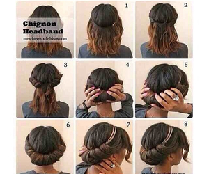 chignon, diy, and hairstyles image