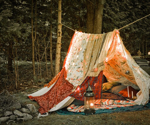 tent, forest, and camping image
