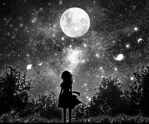 beauty, monochrome, and moonlight image
