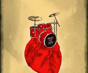 drums, heart, and red image