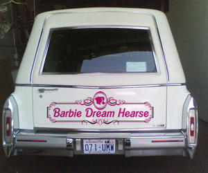 barbie, hearse, and pink image