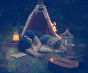 love, couple, and camping image