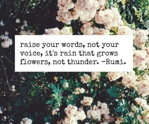 quote, flowers, and rain image