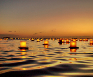 light, sea, and sunset image