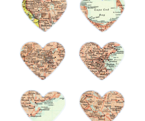 heart, map, and hearts image