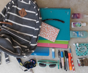 backpack, school, and earphones image