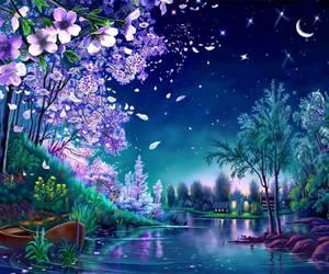 boat, night, and lake image