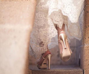 bridal, gown, and shoes image