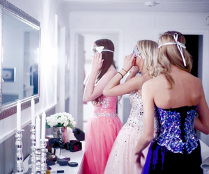 ballgown, girls, and mask image