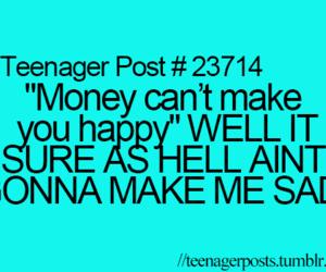 money, sad, and happy image