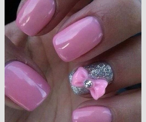 bow, pink nails, and nail art image
