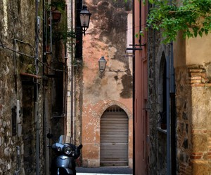 alley, italy, and scooter image