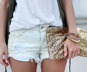 fashion, gold, and shorts image