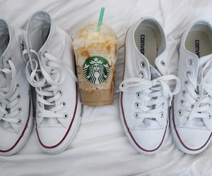 converse, starbucks, and shoes image