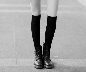 black and white, boots, and shoes image