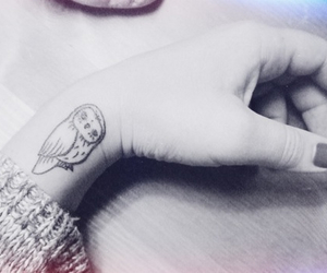 tattoo, owl, and hand image