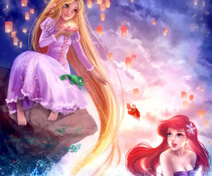 ariel, disney, and rapunzel image