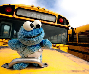 blue, cookie monster, and bus image