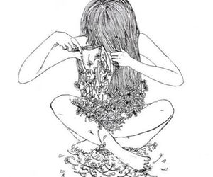 flowers, hair, and art image