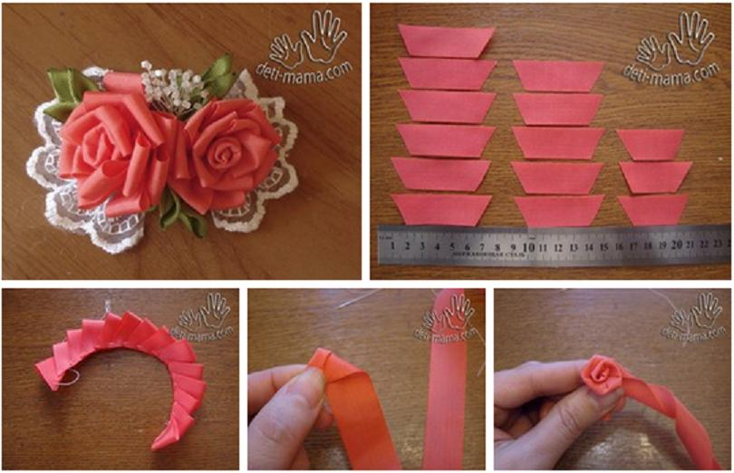 How to make pretty ribbon rose flowers step by step DIY tutorial ... | 522x810