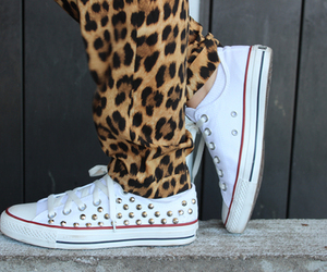 converse, leopard, and shoes image