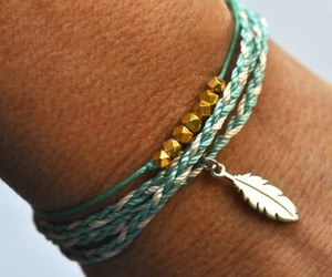 bracelet, feather, and blue image