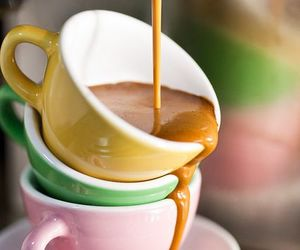 coffee, pastel, and cups image