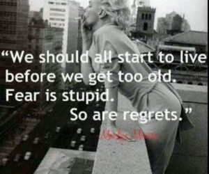 quote, Marilyn Monroe, and fear image