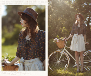 bicycle, girl, and hat image