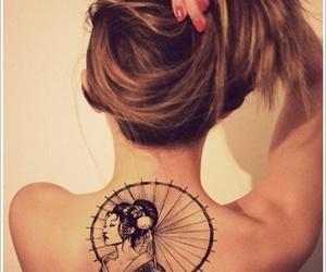 back tattoo, geisha, and tattoo image