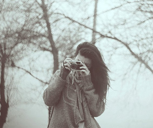 camera, girl, and cold image