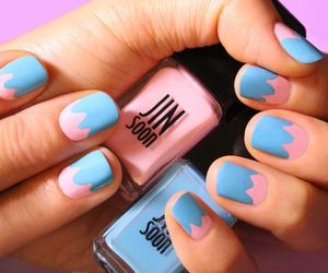 blue, nails, and pink image