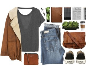 coat, fashion, and jeans image