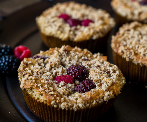 berries, nuts, and coffee cake image