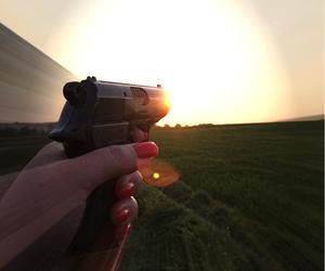 gun, hand, and red nails image