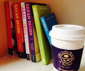 books, coffee, and cup image