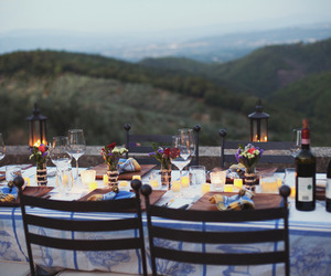 dinner, nature, and romantic image