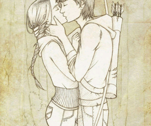 kiss, drawing, and the hunger games image