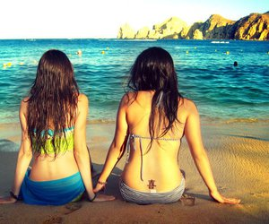 beach, friendship, and together image