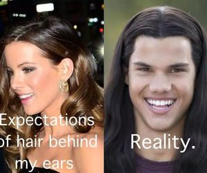 hair, funny, and Taylor Lautner image