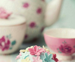 cupcake, tea, and flowers image