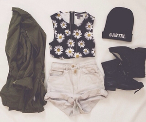 beanie, boots, and daisy image