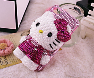 hello kitty, pink, and phone case image